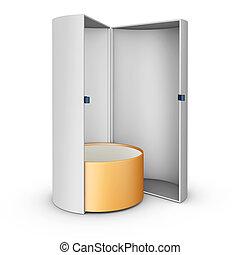 3d Illustration of Blank vertical paper box on white background.