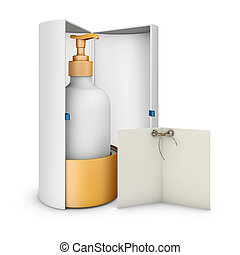 3d Illustration of Blank vertical paper box on white background