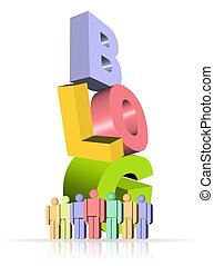 3D illustration of blog icon with colorful people