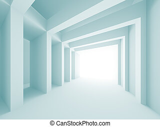 Abstract Architectural Design - 3d Illustration of Blue...
