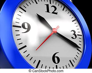 clock dial - 3d illustration of blue clock dial closeup,...