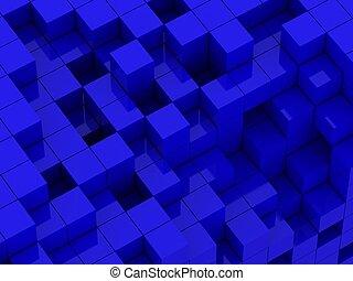 3d illustration of blue cubes