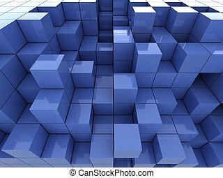 3d illustration of blue cubes