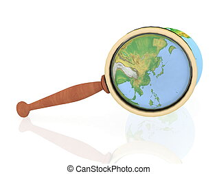 3d illustration of blue earth globe with magnify glass. ...