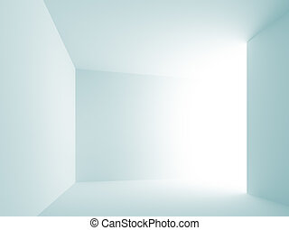 Empty Room - 3d Illustration of Blue Empty Room Background