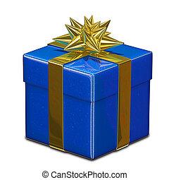 3D Illustration of Blue Gift Box