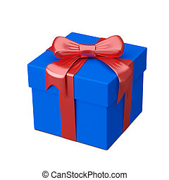 3D Illustration of Blue Gift Box with Ribbon