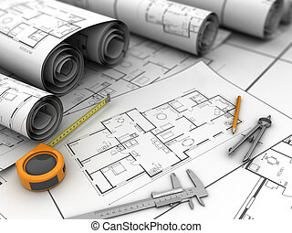 blueprints - 3d illustration of blueprints and drawing tools