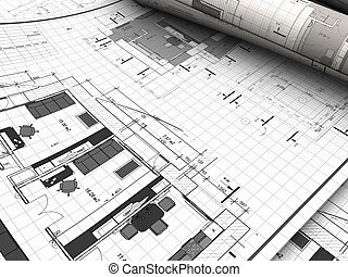 blueprints - 3d illustration of blueprints background