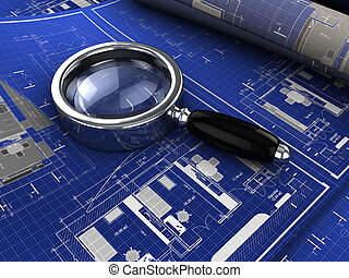 blueprints - 3d illustration of blueprints with magnify ...