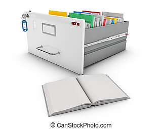 3d Illustration of book beside the open drawer with books