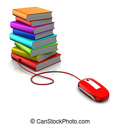 electronic library - 3d illustration of books and computer...