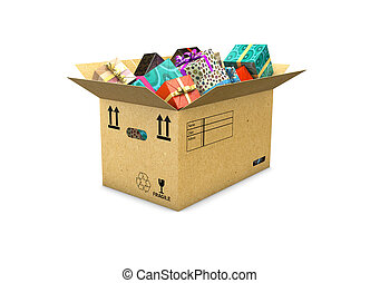 3d illustration of box with gifts isolated on white background