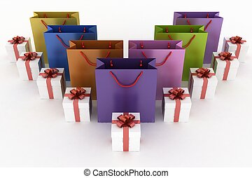 3d illustration of boxes with gifts and multicolor paper bags on a white background
