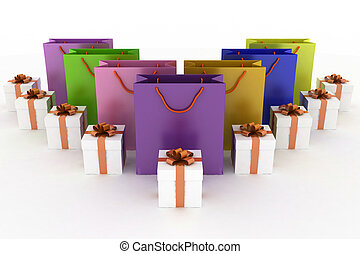 boxes with gifts and multicolor paper bags
