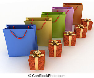 boxes with gifts and paper bags