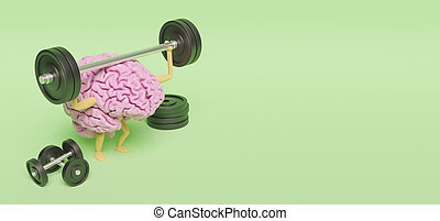 3d illustration of brain exercising with dumbbells