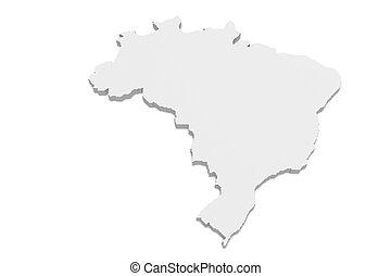 3d Illustration of Brazil Map On A White Background