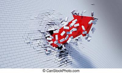 3d illustration of breakthrough