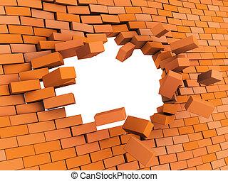 brick wall crash - 3d illustration of brick wall crash over ...