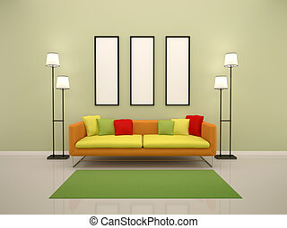 3d illustration of bright interior with sofa and empty frames