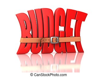 budget recession, deficit - 3d illustration of budget ...