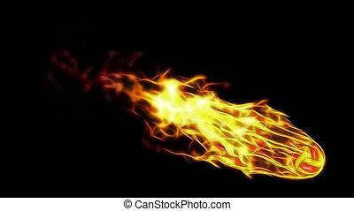 3d illustration of burning volleyball attack.