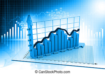 Business graph on abstract financial background