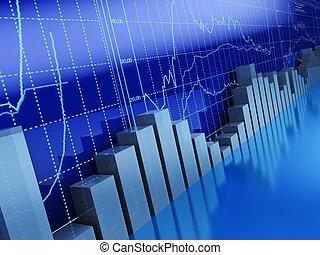 business graphs - 3d illustration of business graphs ...