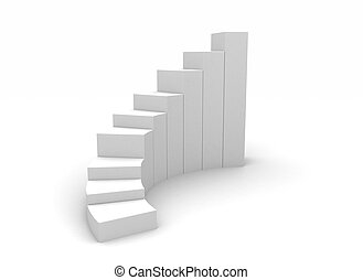 3d illustration of business success charts over white ...
