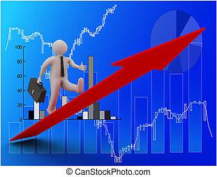 3D illustration of Businessman walking on growing arrow . 3D rendered illustration