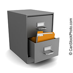 cabinet with folders - 3d illustration of cabinet with...