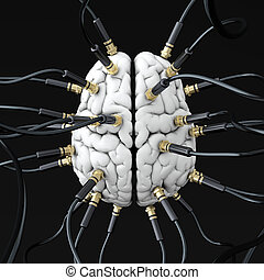 Mind control - 3D illustration of cables connected to brain...