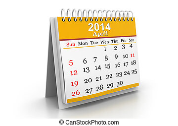 3d illustration of Calendar 2014