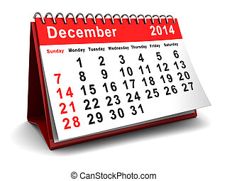 december 2014 - 3d illustration of calendar with december...