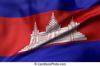 3D Illustration of Cambodia Flag