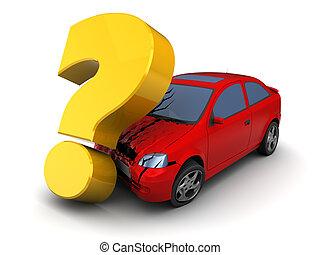 car crash - 3d illustration of car crash with querstion mark
