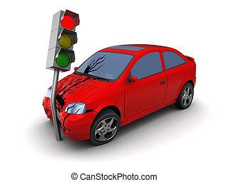 car crash - 3d illustration of car crash with traffic light ...