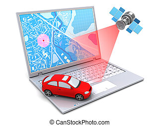 3d illustration of car location tracking with laptop and satellite