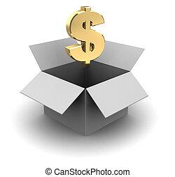 cardboard box with dollar