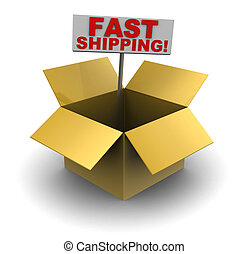 fast shipping - 3d illustration of cardboard box with fast...