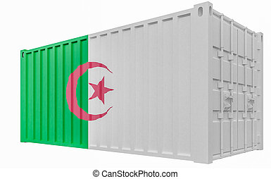 3D Illustration of Cargo Container with Algeria Flag