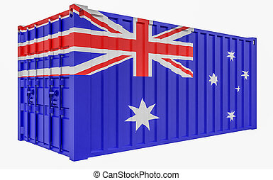 3D Illustration of Cargo Container with Australia Flag