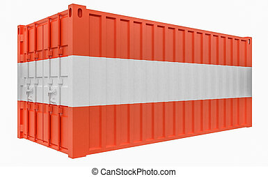 3D Illustration of Cargo Container with Austria Flag