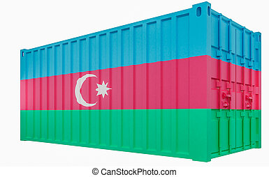 3D Illustration of Cargo Container with Azerbaijan Flag