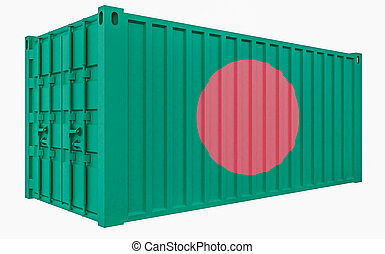 3D Illustration of Cargo Container with Bangladesh Flag