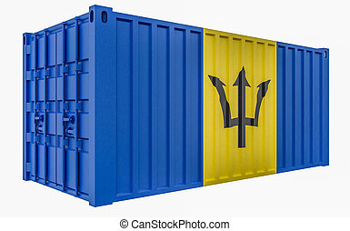3D Illustration of Cargo Container with Barbados Flag