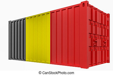 3D Illustration of Cargo Container with Belgium Flag