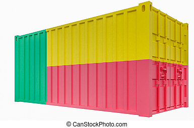 3D Illustration of Cargo Container with Benin Flag