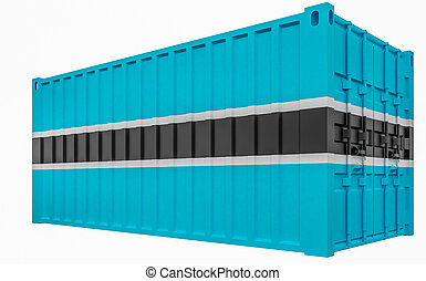 3D Illustration of Cargo Container with Botswana Flag